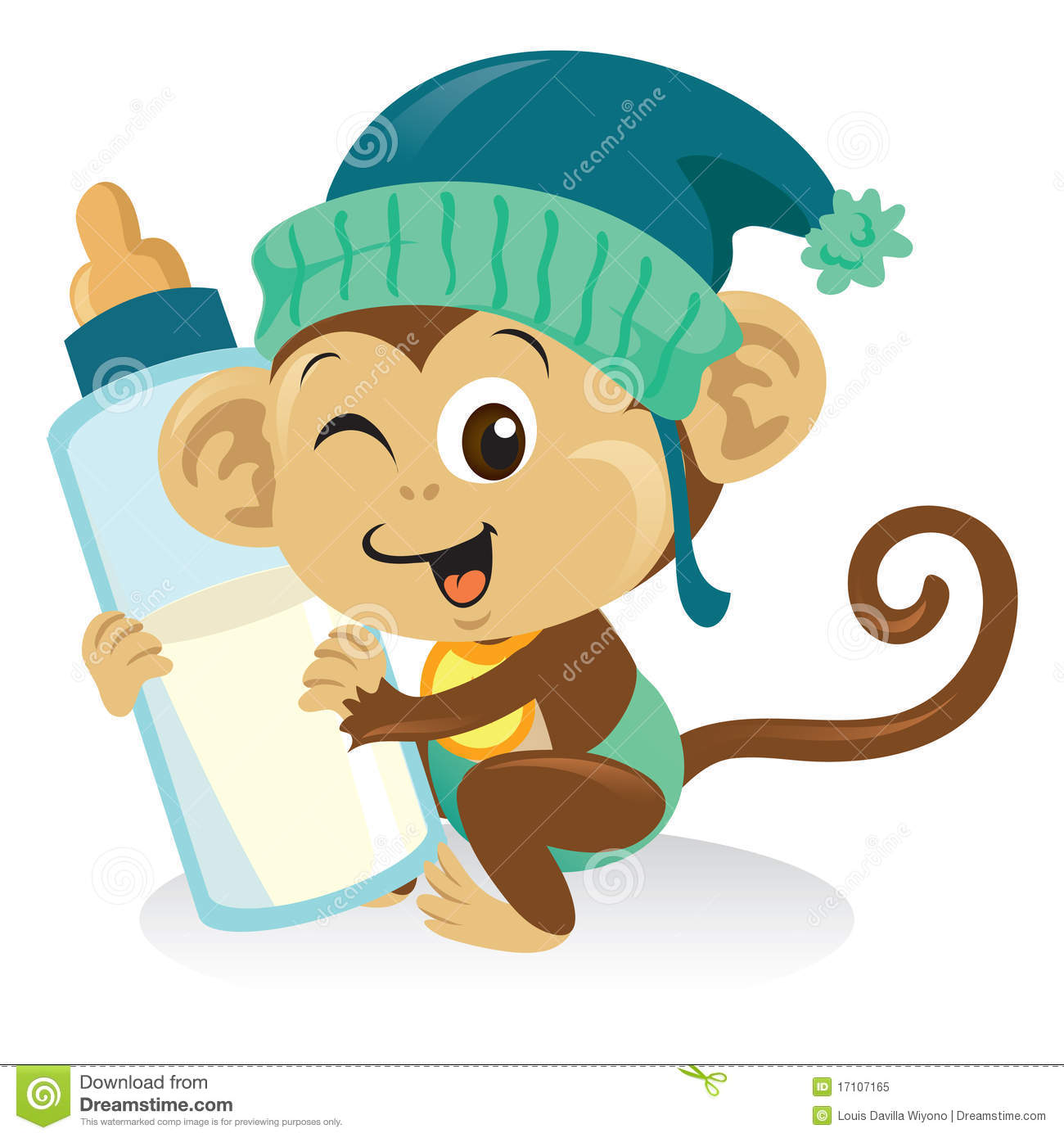 Adorable baby monkey cartoon illustration holding a bottle of milk.