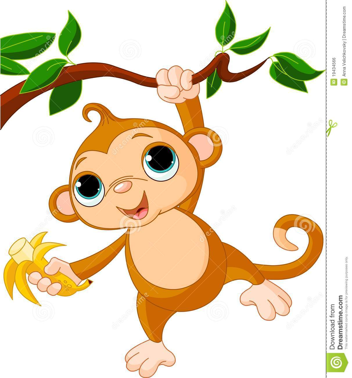 Monkey Cartoon Baby Baby monkey on a tree