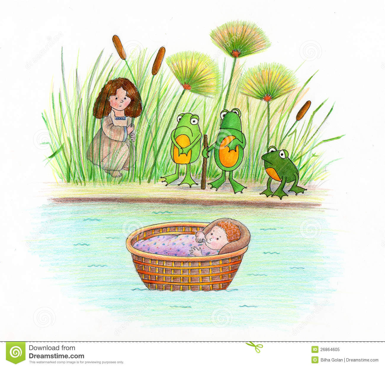 Baby Moses and Frogs stock illustration. Illustration of ...
