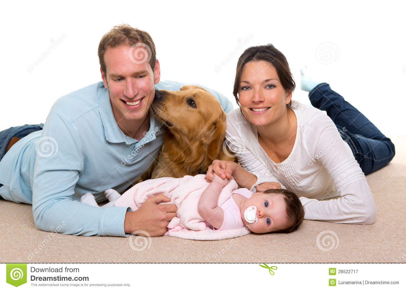 Baby Mother And Father Happy Family Dog Royalty Free