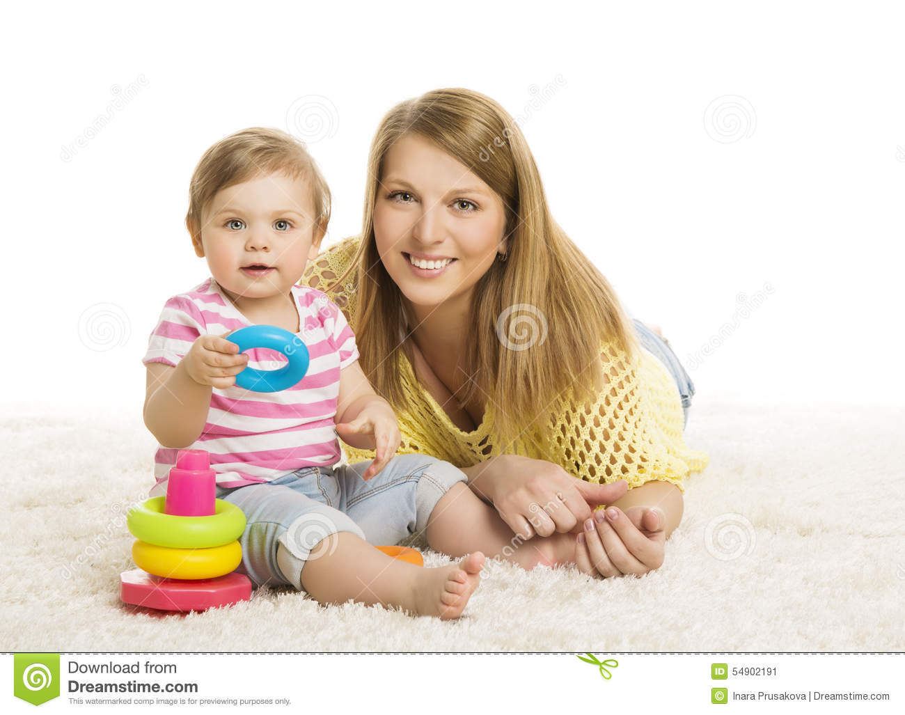 baby mother  kid playing blocks toy  young family and child stock photo