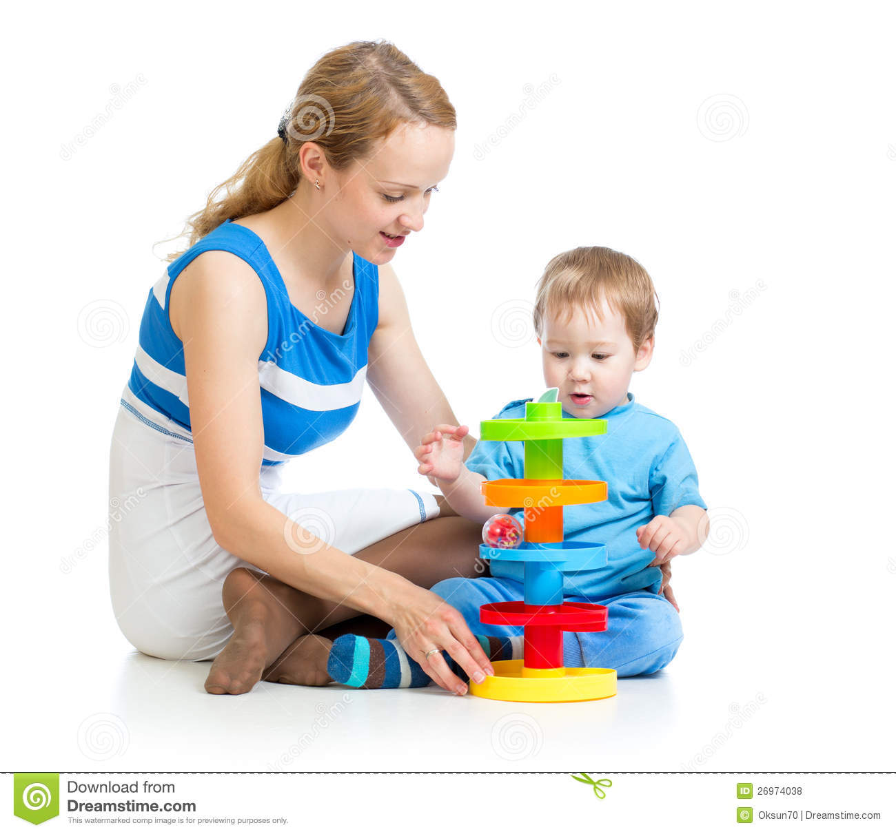 Baby And Mother Playing Together With Puzzle Toy Royalty Free Stock ...