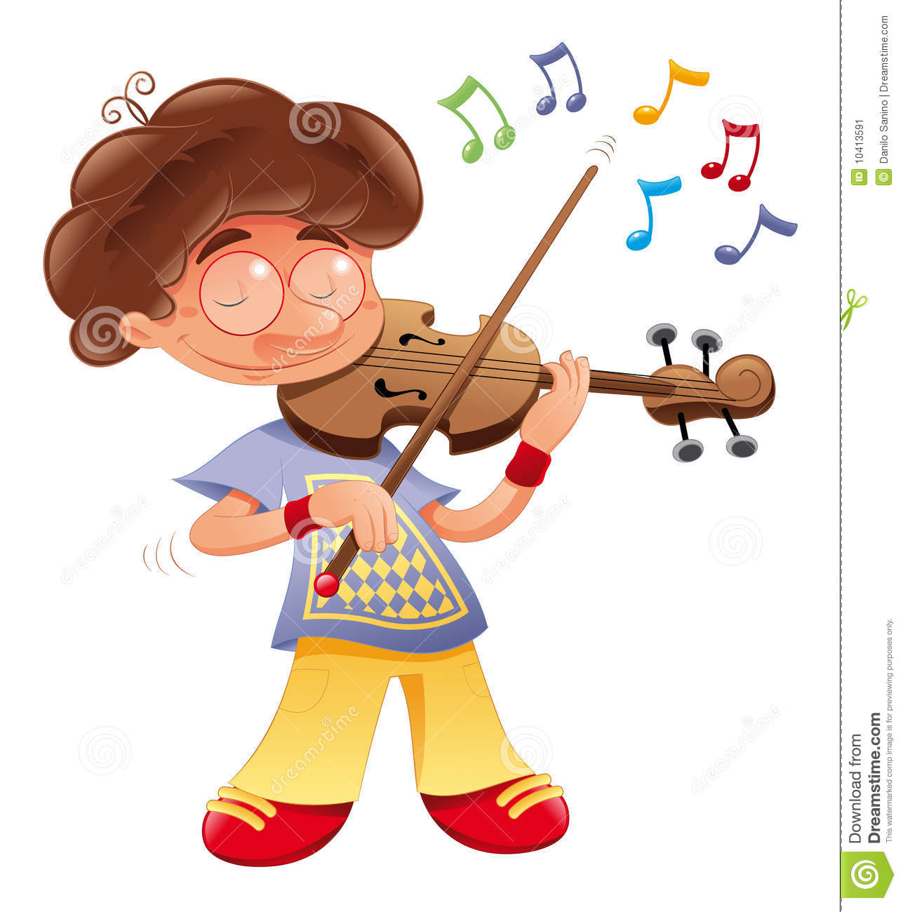 Baby musician - funny cartoon and vector character.
