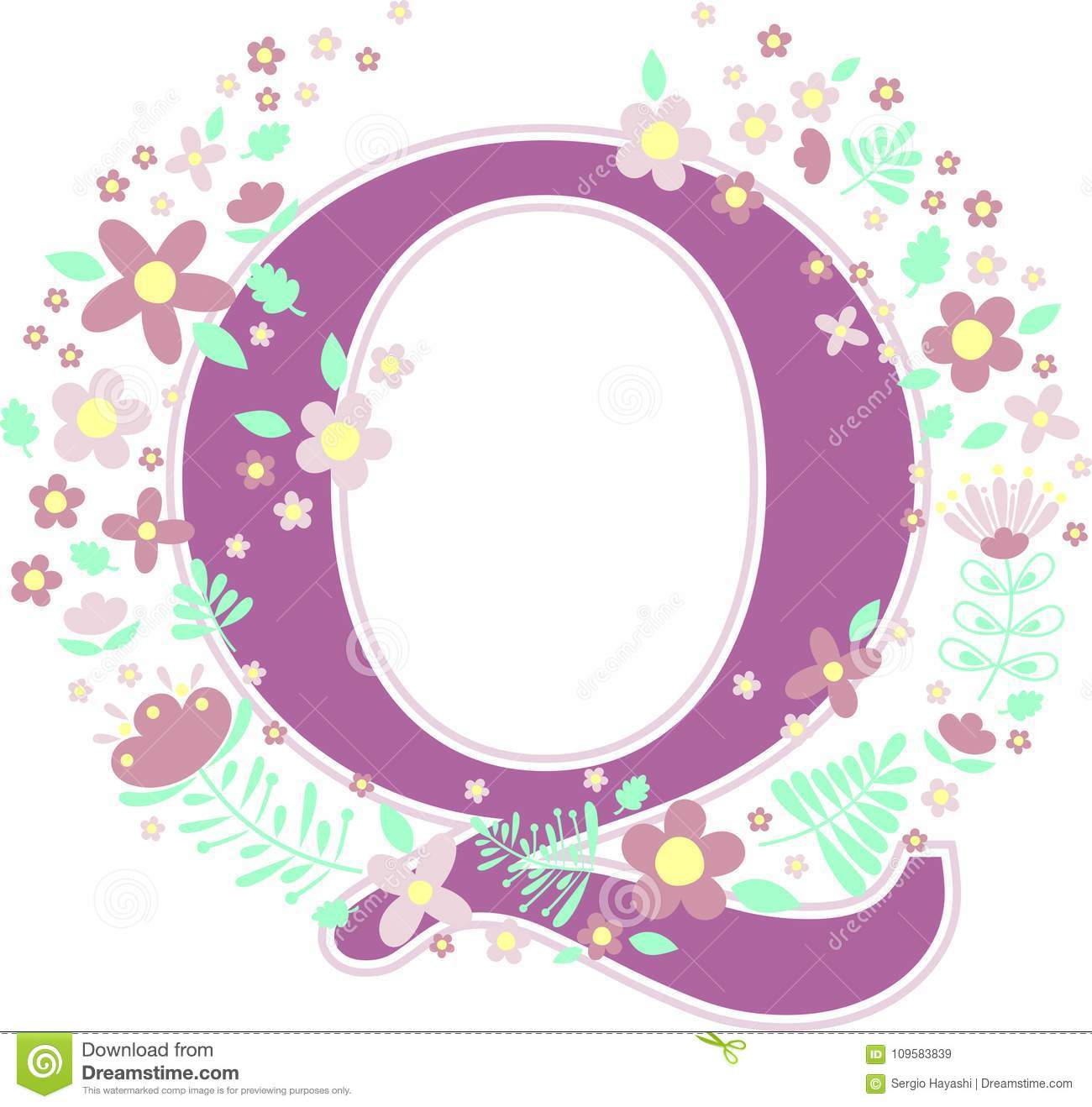 Baby name initial q with flowers stock vector illustration of initial letter q with decorative flowers and design elements isolated on white background can be used for baby name nursery decoration spring themes or junglespirit Image collections