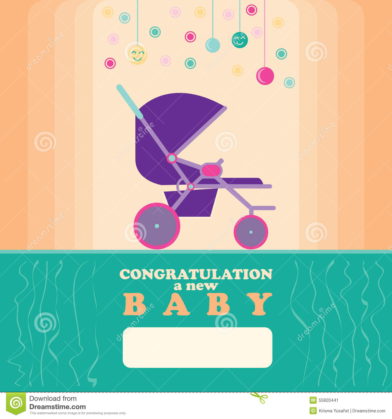 baby new born greeting card stroller stock illustration