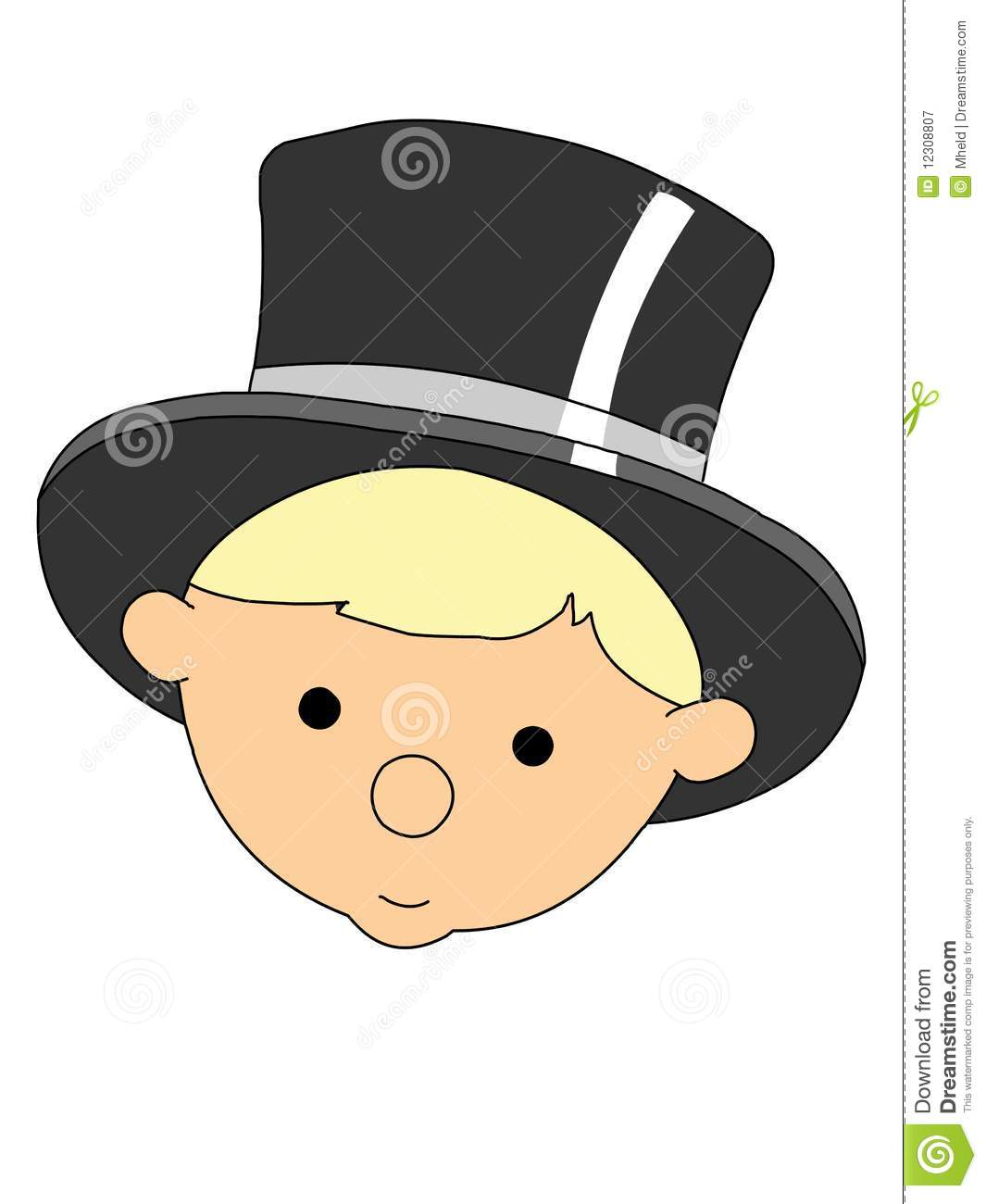 baby new year head wearing black top hat
