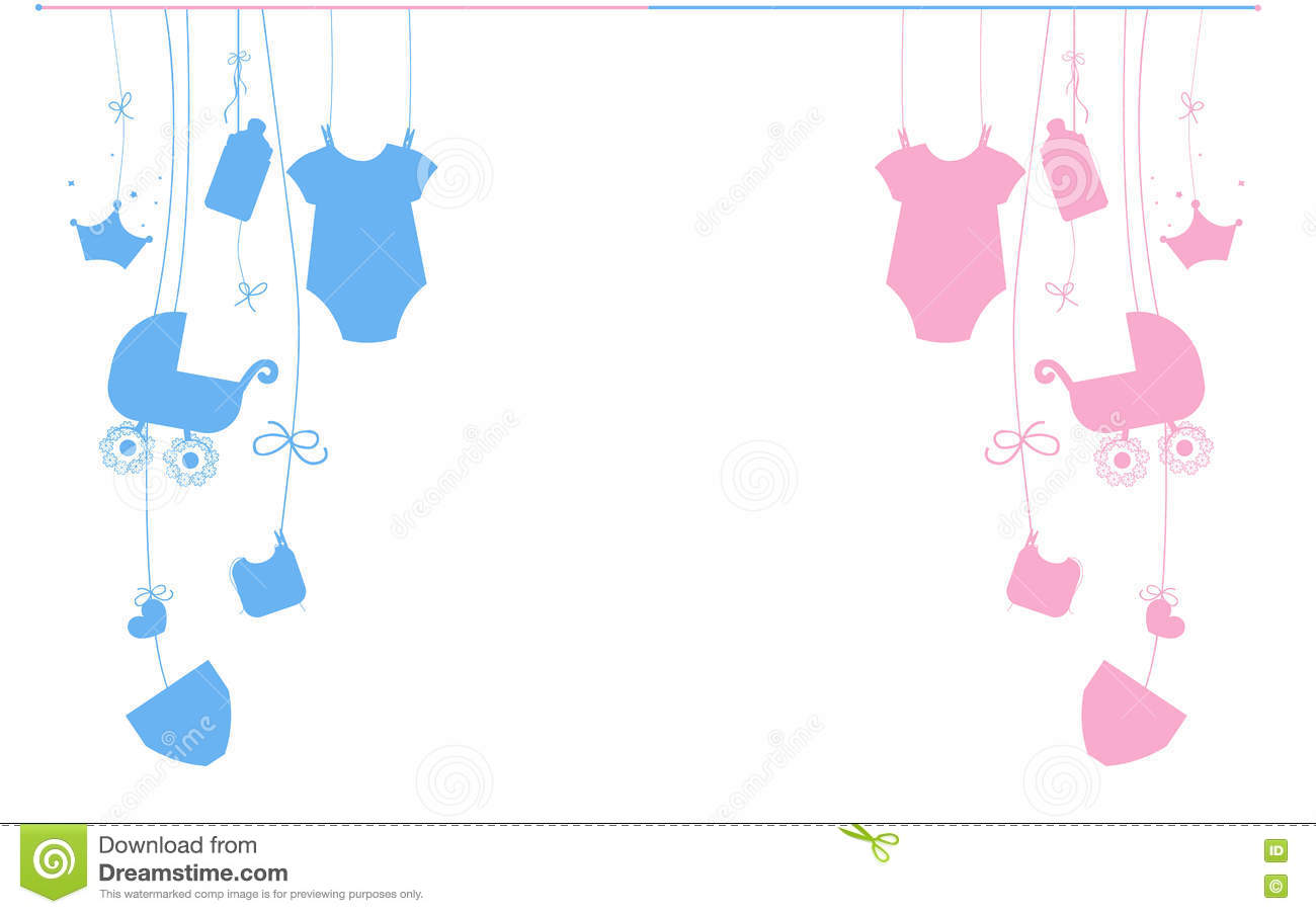 Baby shower card baby boy hanging symbols illustration stock baby newborn hanging baby boy baby girl symbols illustration royalty free stock image buycottarizona Gallery