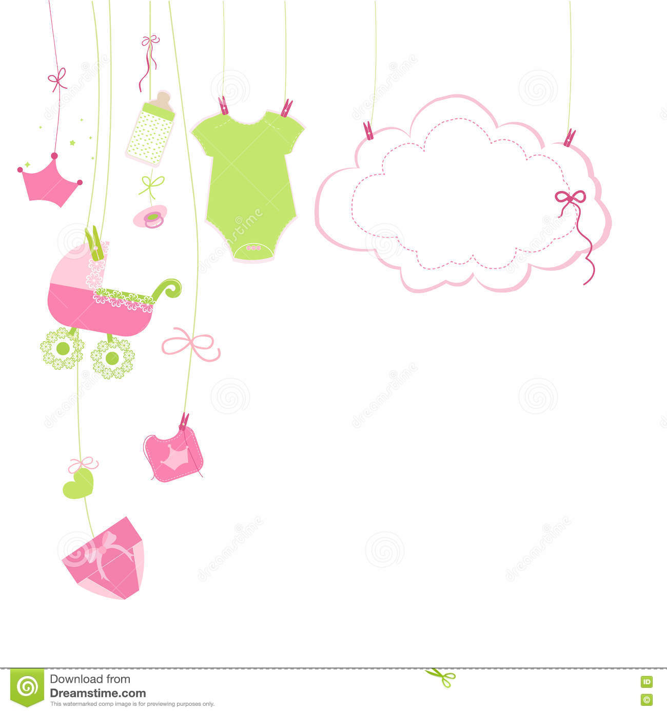 Baby shower card baby boy hanging symbols illustration stock baby newborn hanging baby girl symbols card illustration royalty free stock photos buycottarizona Gallery