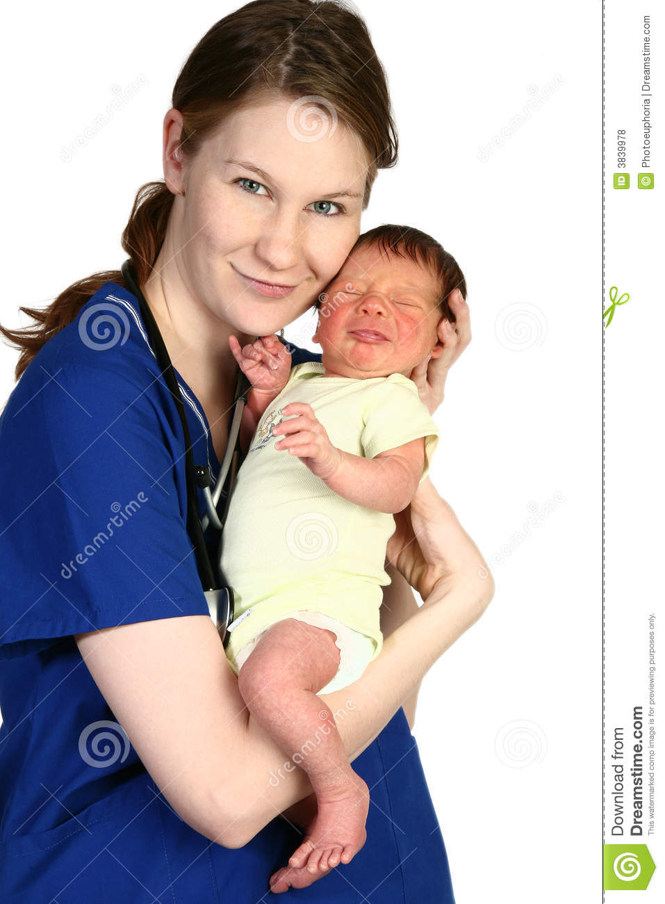 Baby Newborn And Nurse Royalty Free Stock Photos - Image: 3839978