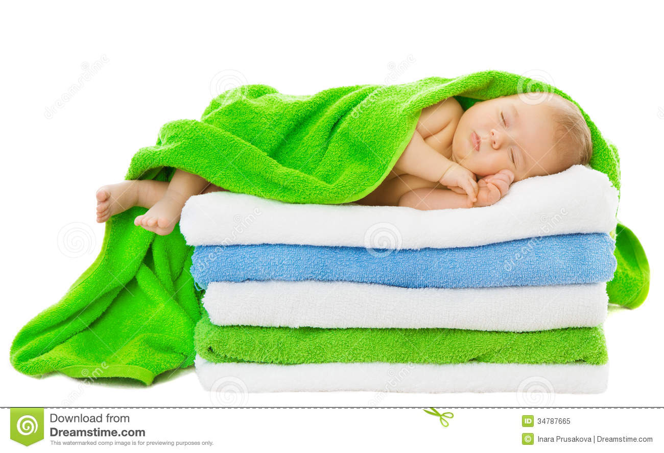 Baby Newborn Sleeping Wrapped In Bath Towels Royalty Free