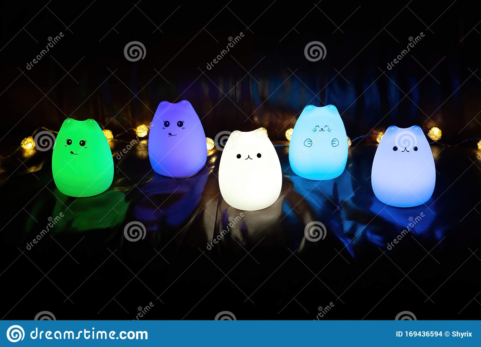 Baby Night Lamp Five Nightlights In A Row Different Colors Children S Night Lights Blue Light Front View Stock Photo Image Of Night Cute 169436594