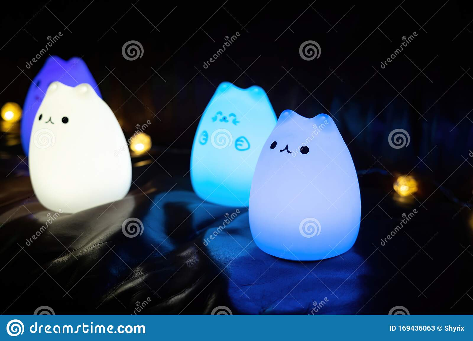 Baby Night Lamp Five Nightlights In A Row Different Colors Children S Night Lights Blue Light Stock Image Image Of Object Shines 169436063