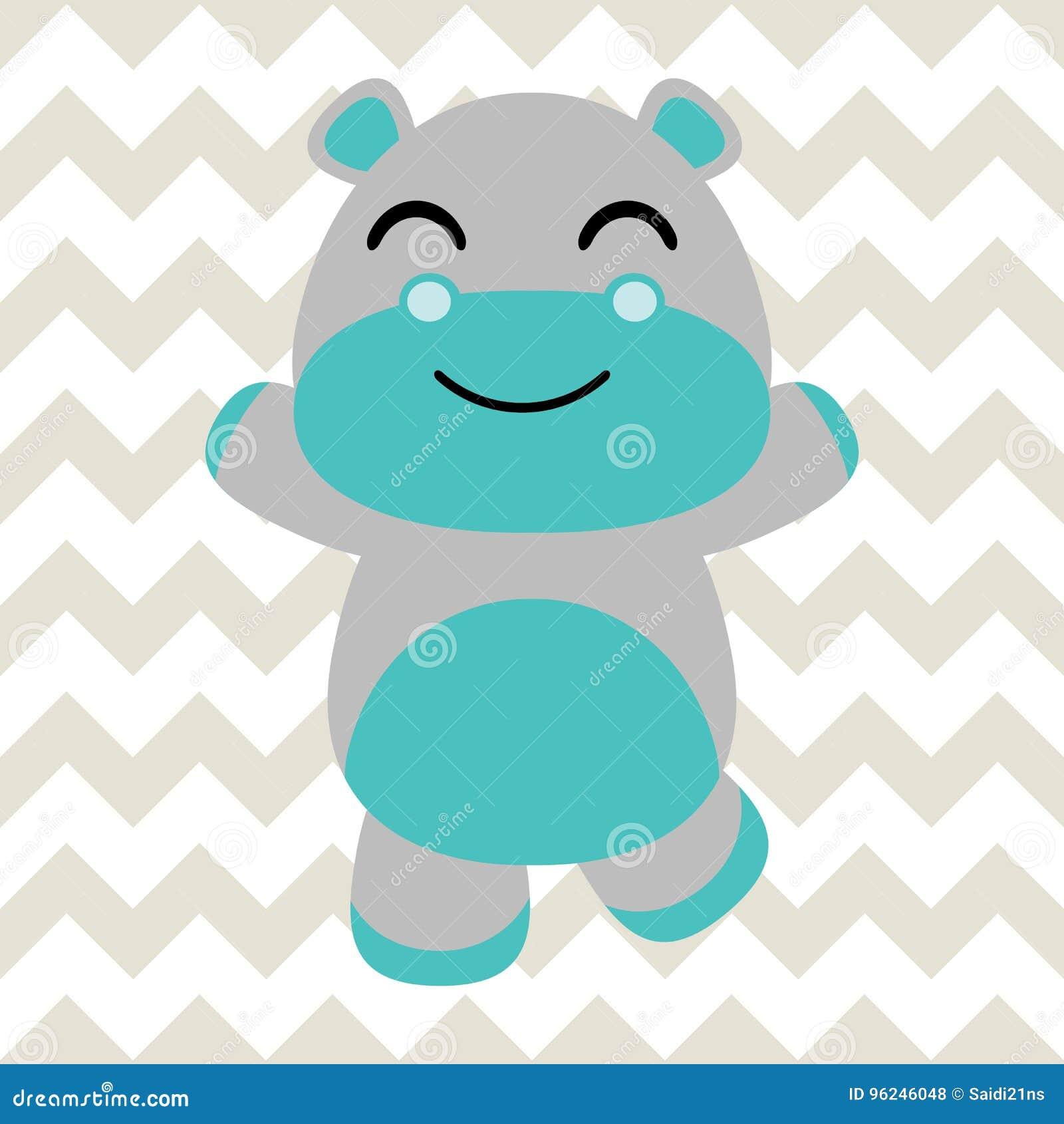 Baby Nursery Wall With Cartoon Of Cute Baby Hippo On Chevron