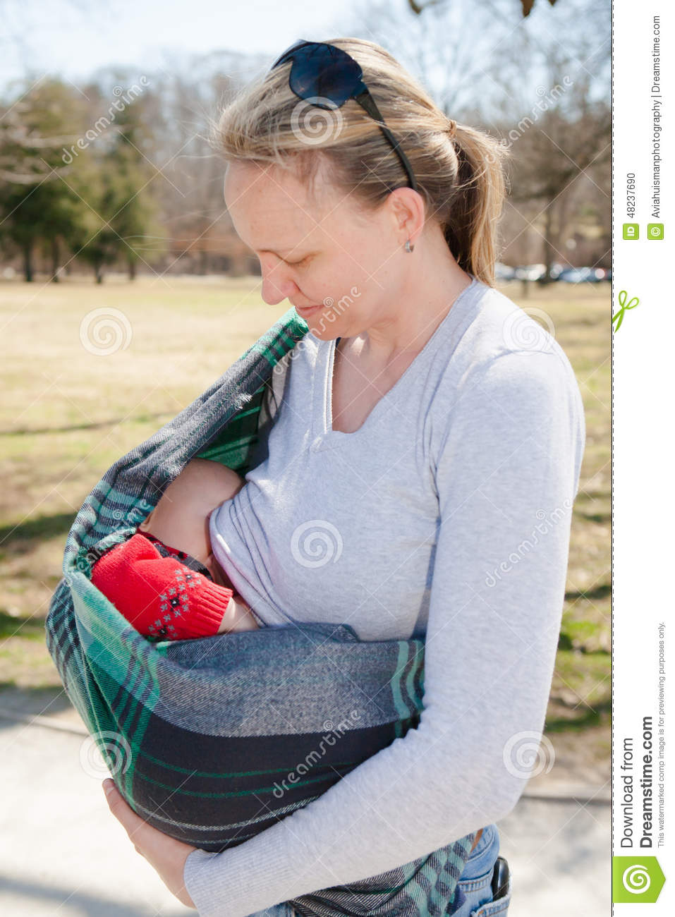 Baby Nursing In Sling Stock Photo Image Of Milk Mothers