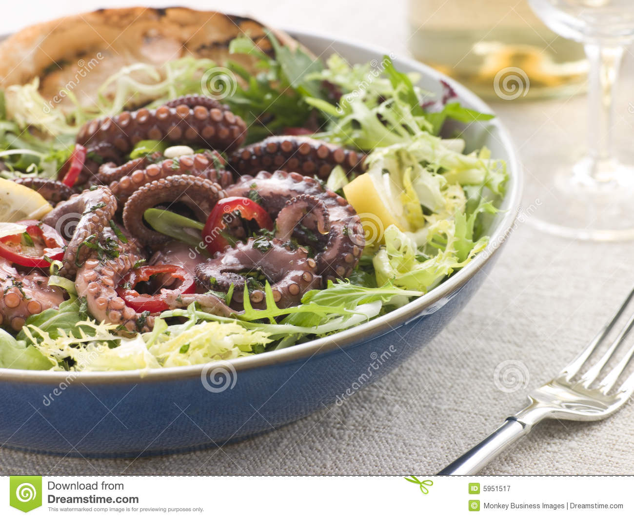 Baby Octopus Salad with Frisse Roquette