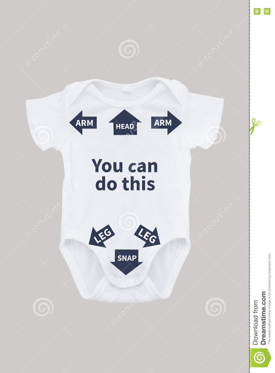 35fb73aee Baby Onesie With Instructions For Dad Stock Photo - Image of white ...