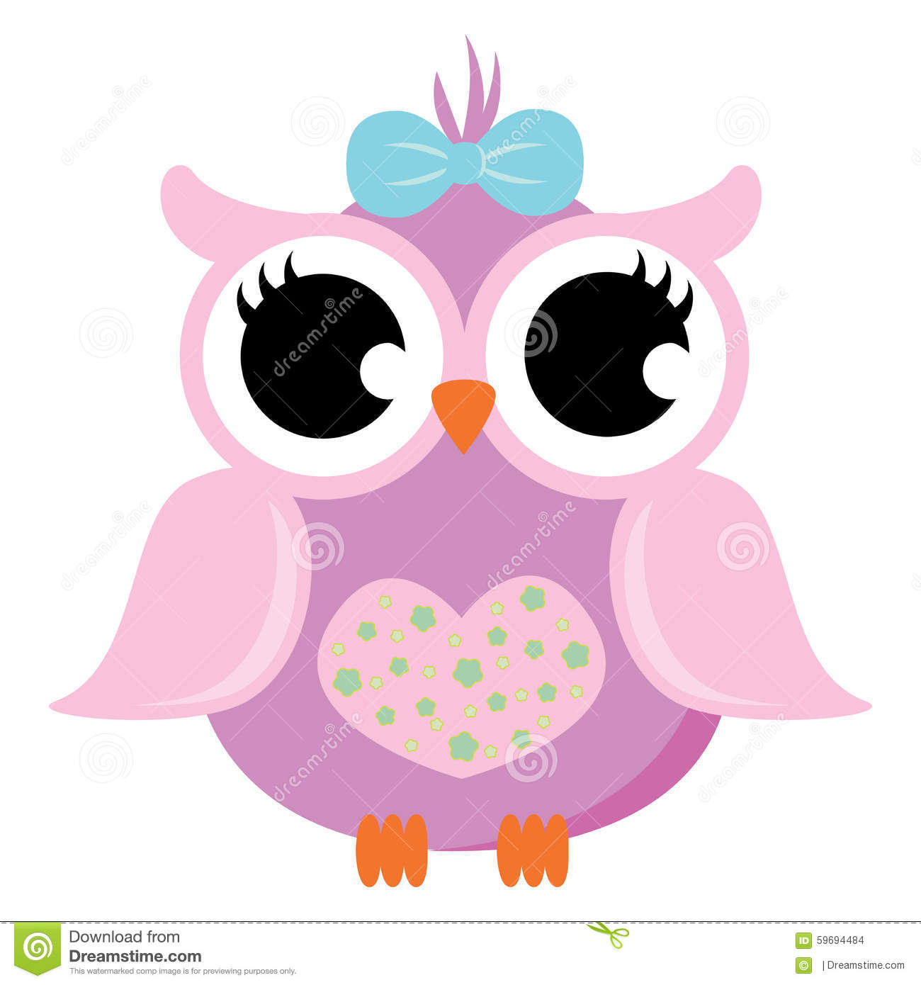 Pink Baby Owl With Ribbon Vector Stock Illustration ...