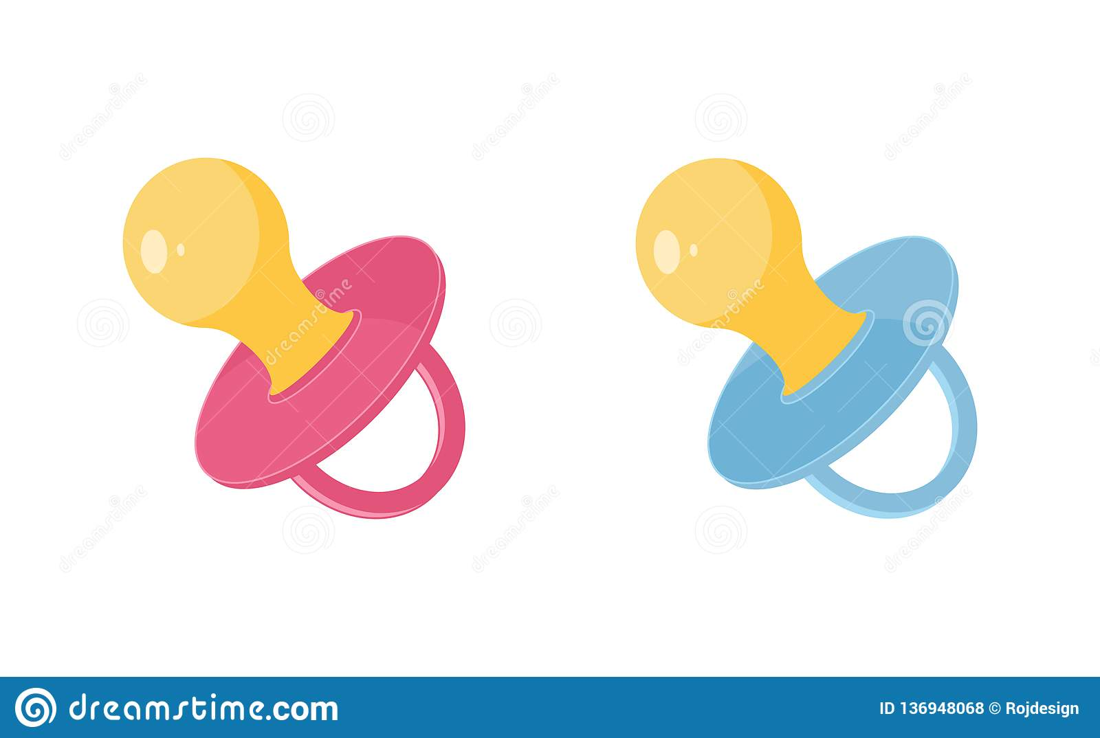 Baby pacifier vector illustration set - pink and blue newborn dummy for girls and boys in flat style.