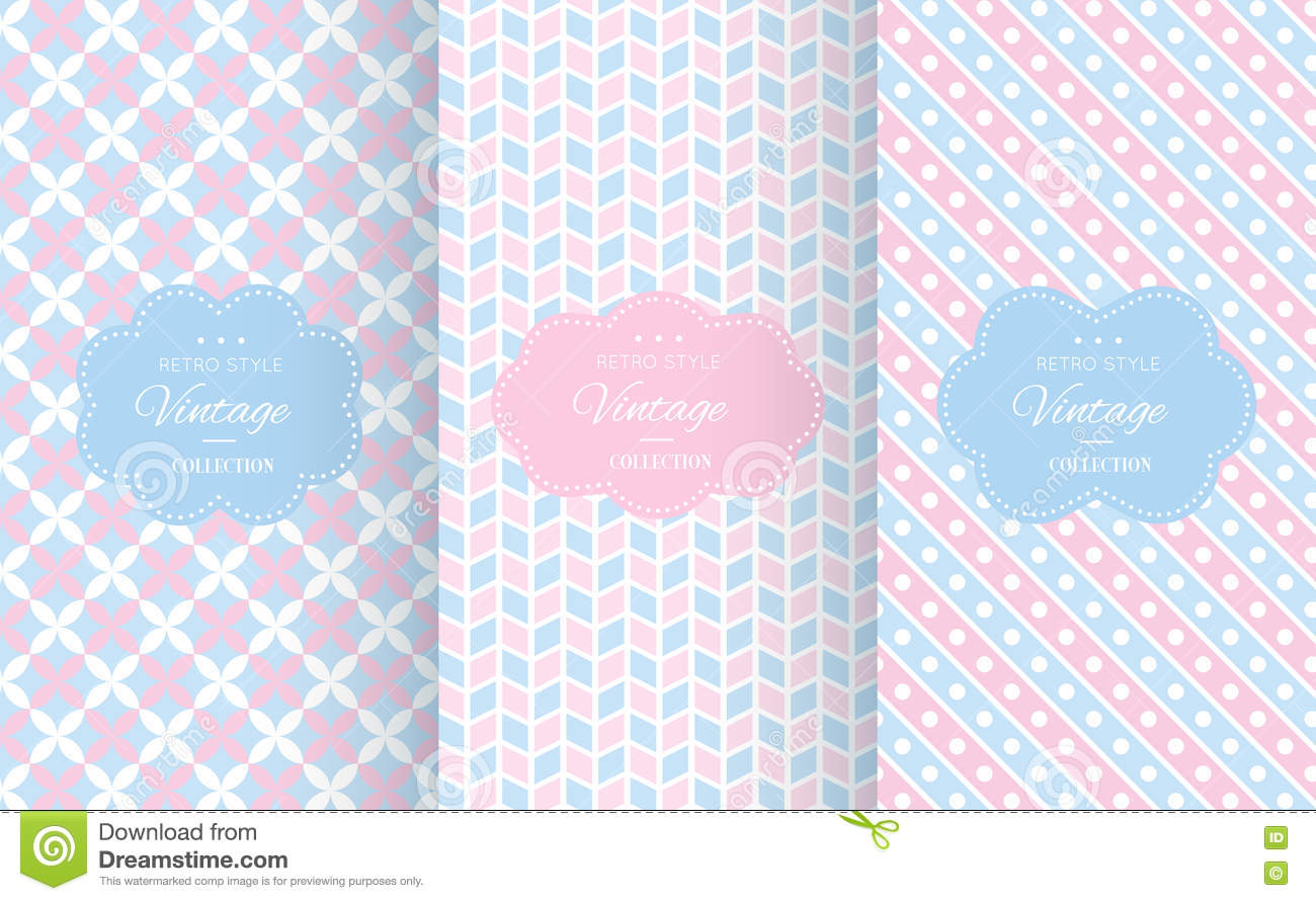 Baby pastel different vector seamless patterns.