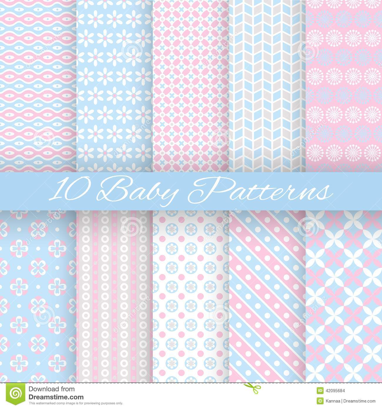 Baby pastel different vector seamless patterns