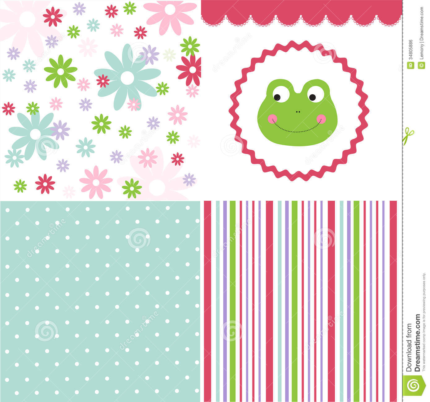 Baby pattern set stock vector image of dots paper for Cute baby fabric