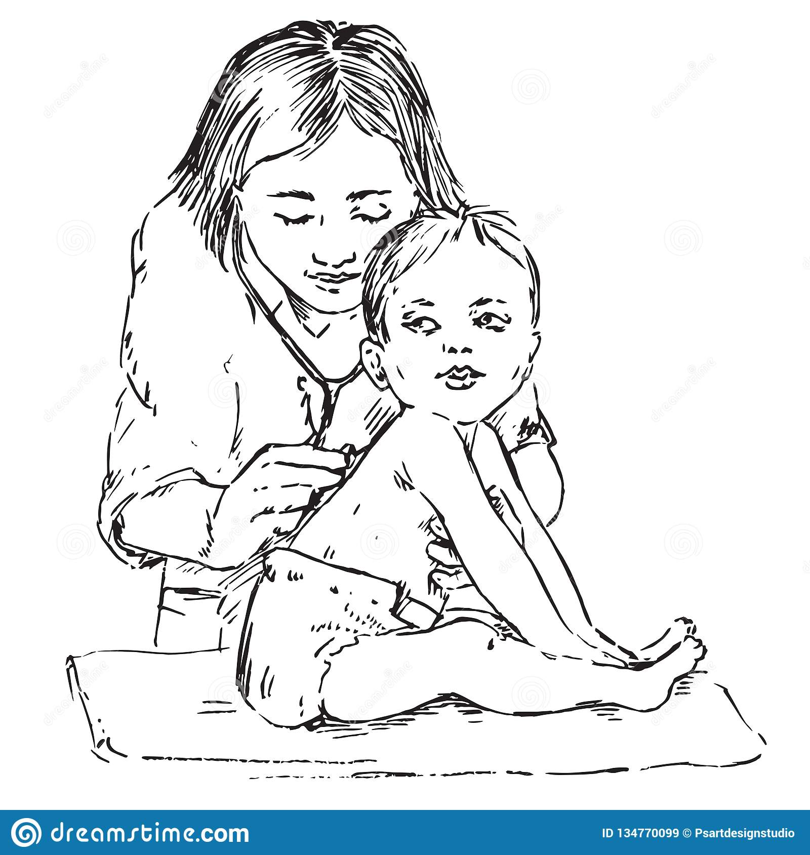 Baby and pediatrician, listening with stethoscope, hand drawn doodle, sketch