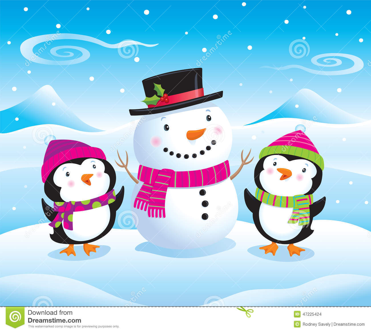 Cute looking snowman in top hat and scarf while snow is falling
