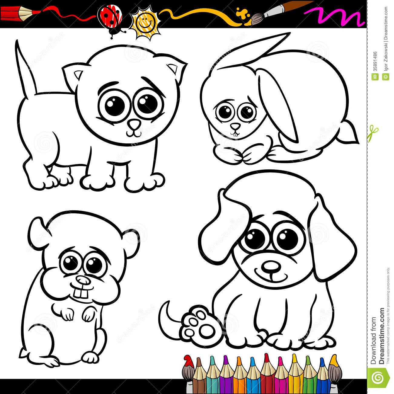 Baby pets cartoon set coloring page royalty free stock Adorable animals coloring book