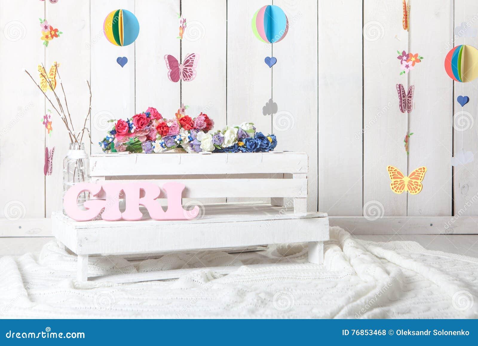 Baby Photography Studio Background Setup Stock Photo
