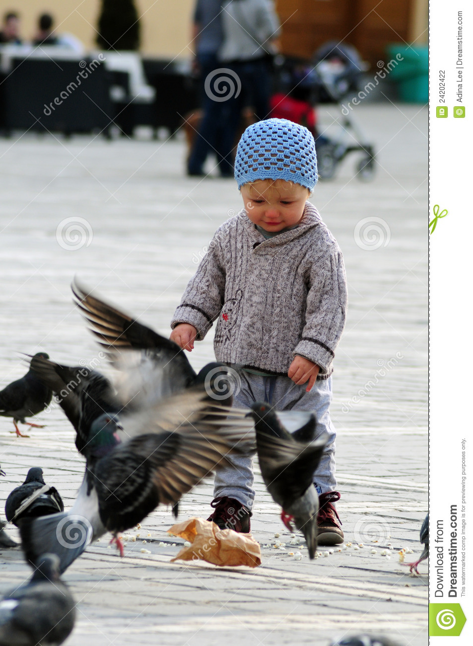 Baby with pigeons stock photo. Image of child, brown ...