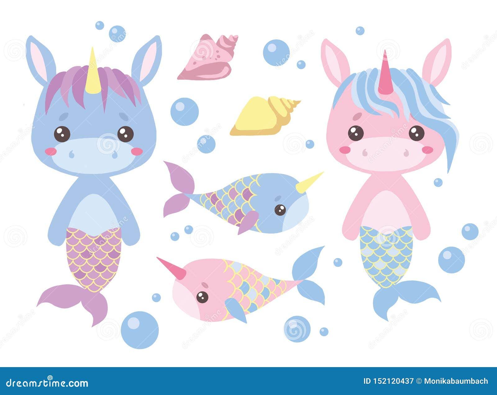 Baby pink and blue cartoon unicorn mermaids, swordfish, seashell and water bubbles vector illustration set