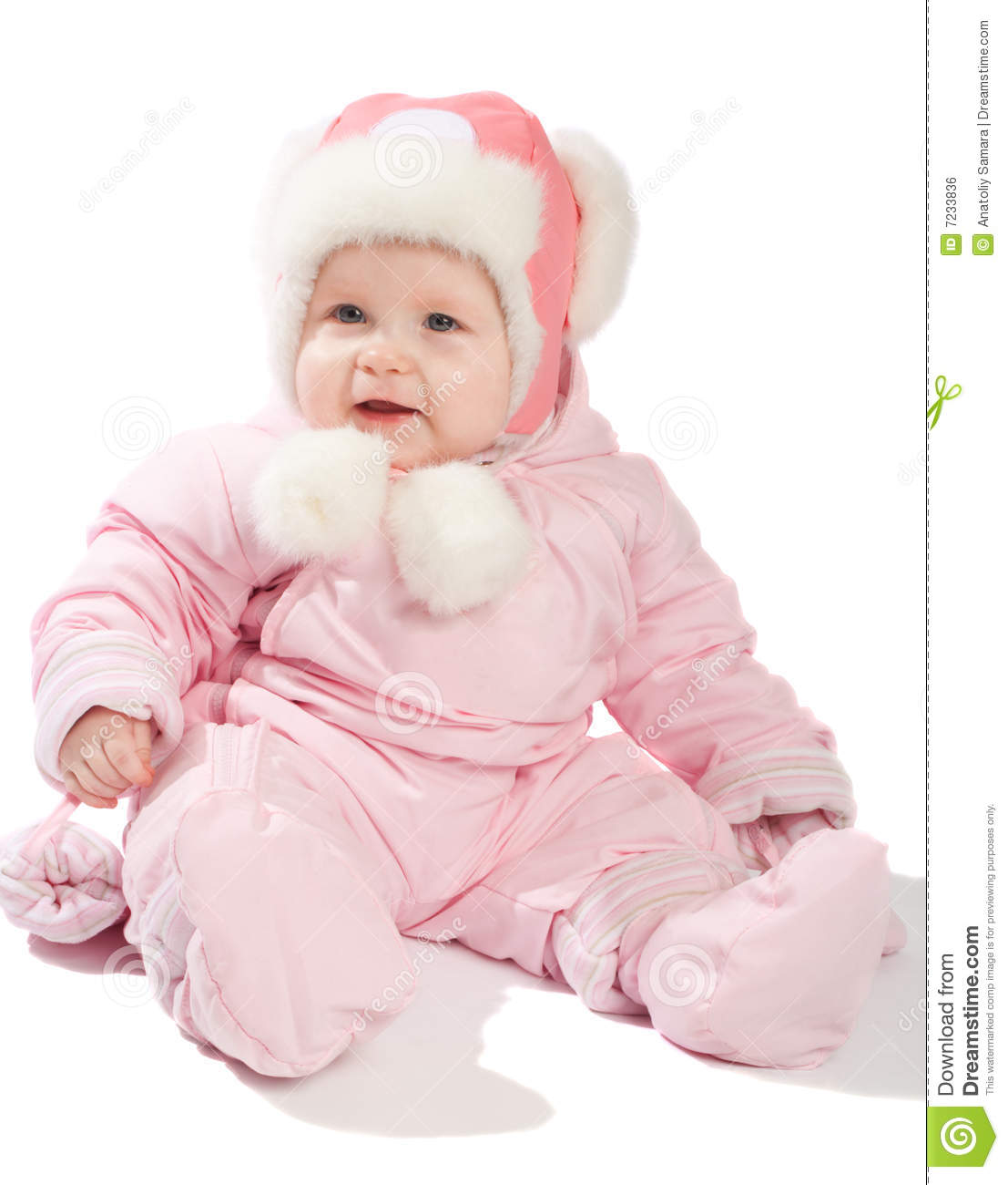 Baby In Pink Winter Clothes Royalty Free Stock Image
