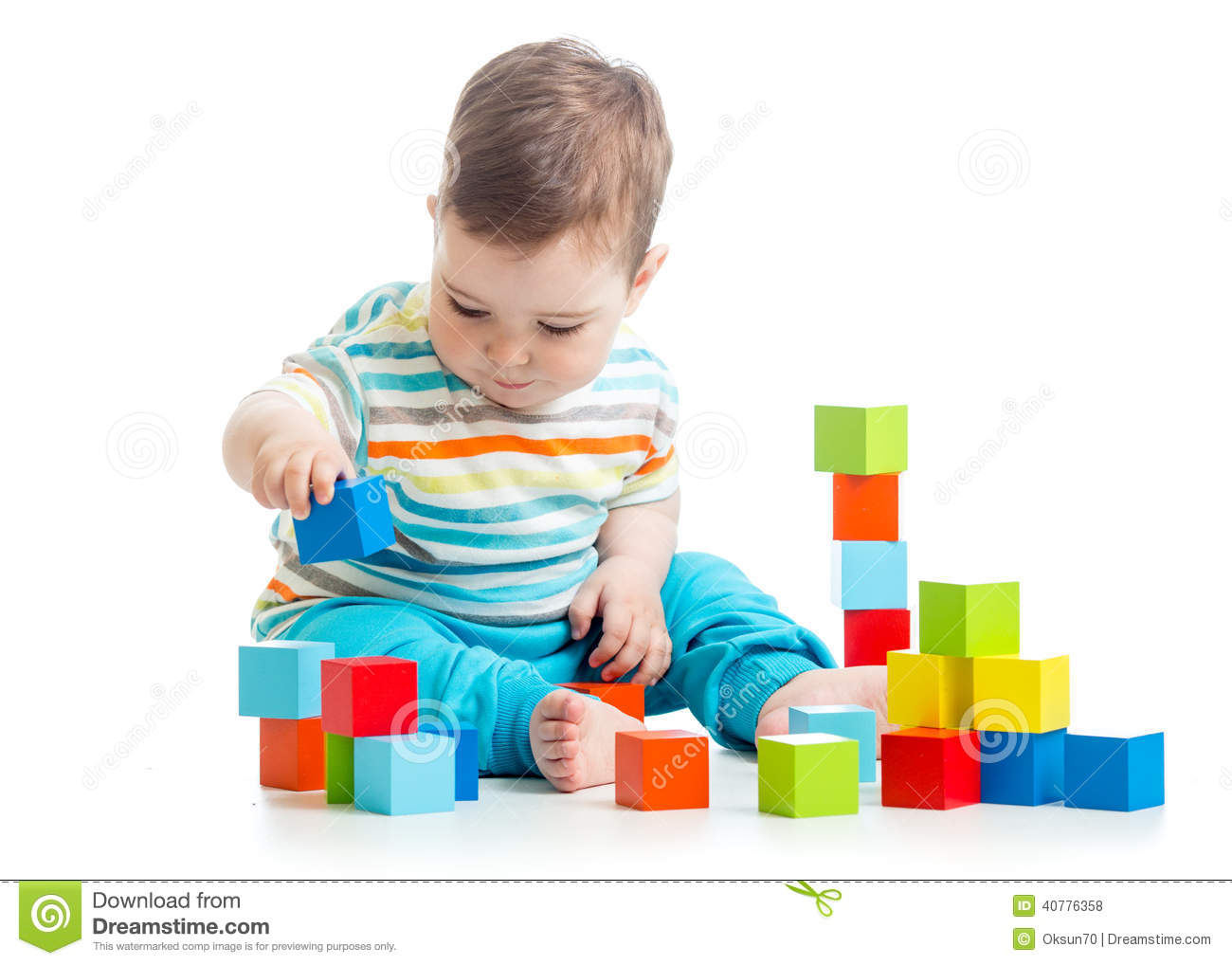 Building Toys For Babies : Baby playing building block toys stock photo image