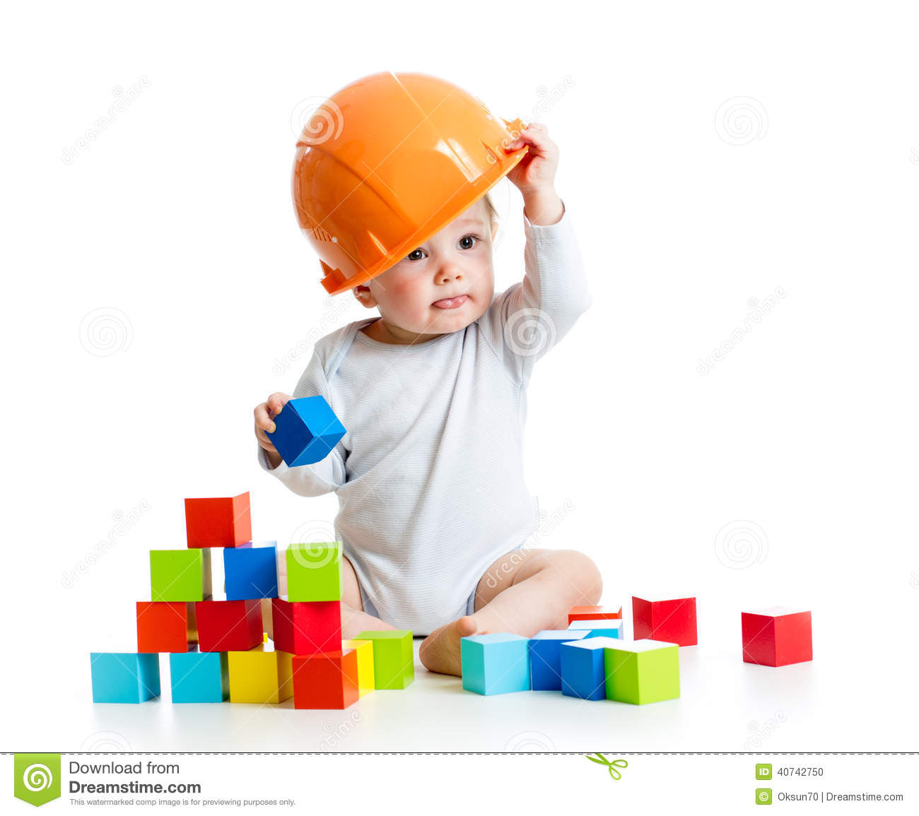 Building Toys For Babies : Baby playing with building blocks toy stock photo image