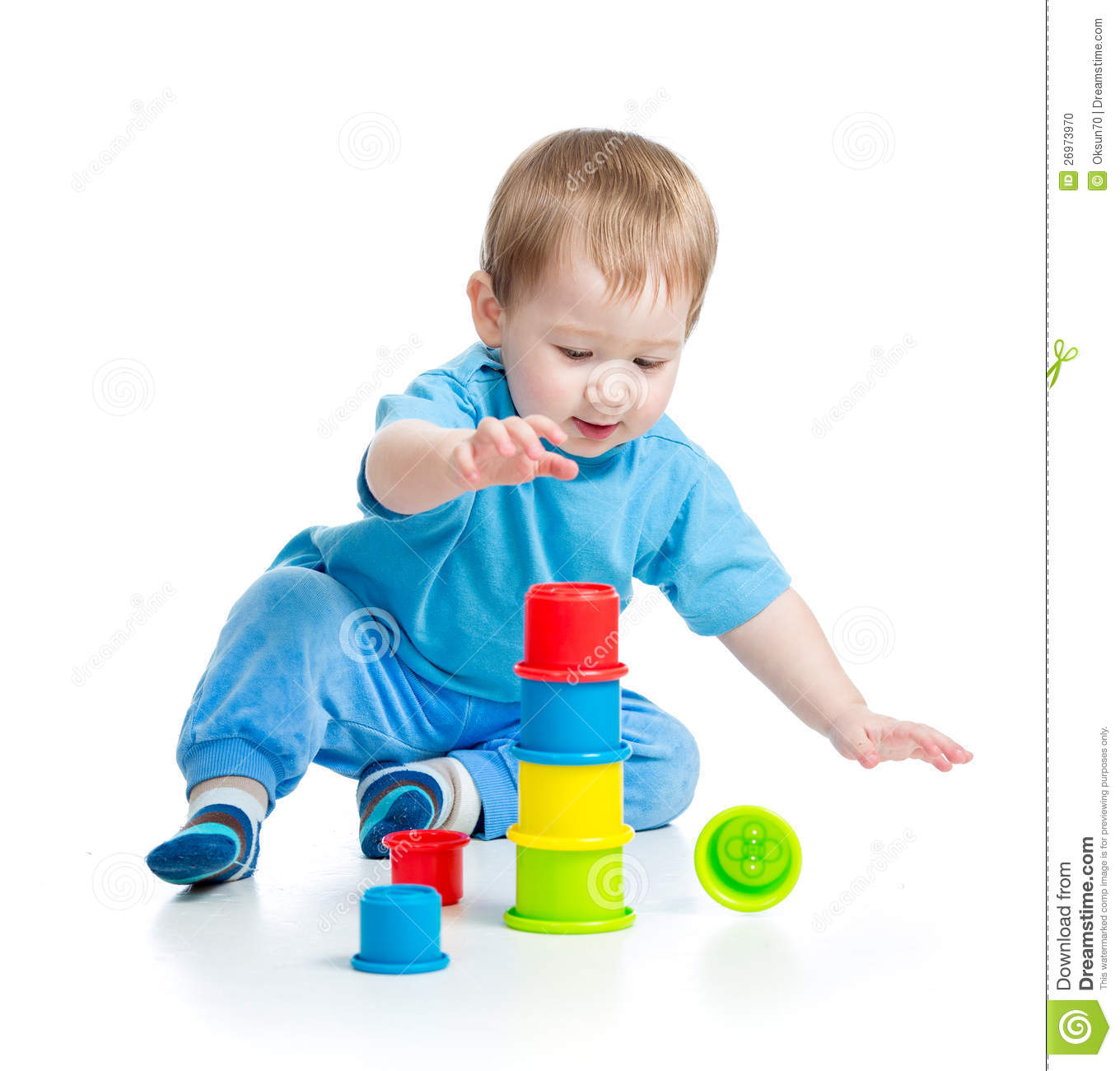 Baby Playing With Colourful Toys On Floor Stock Photo  Image