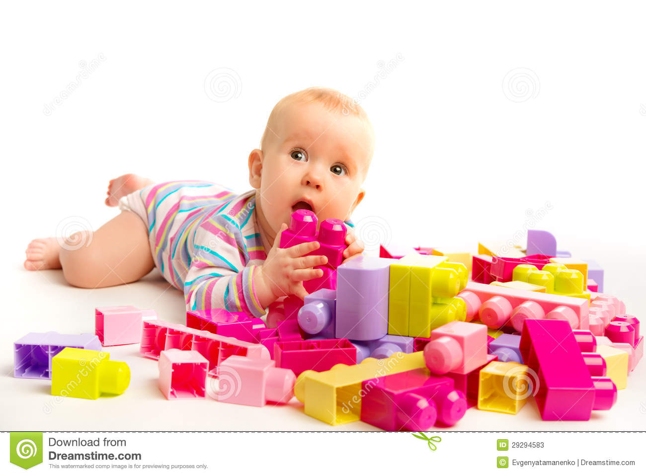 Children S Playroom Baby Playing In Designer Toy Blocks Stock Image Image Of