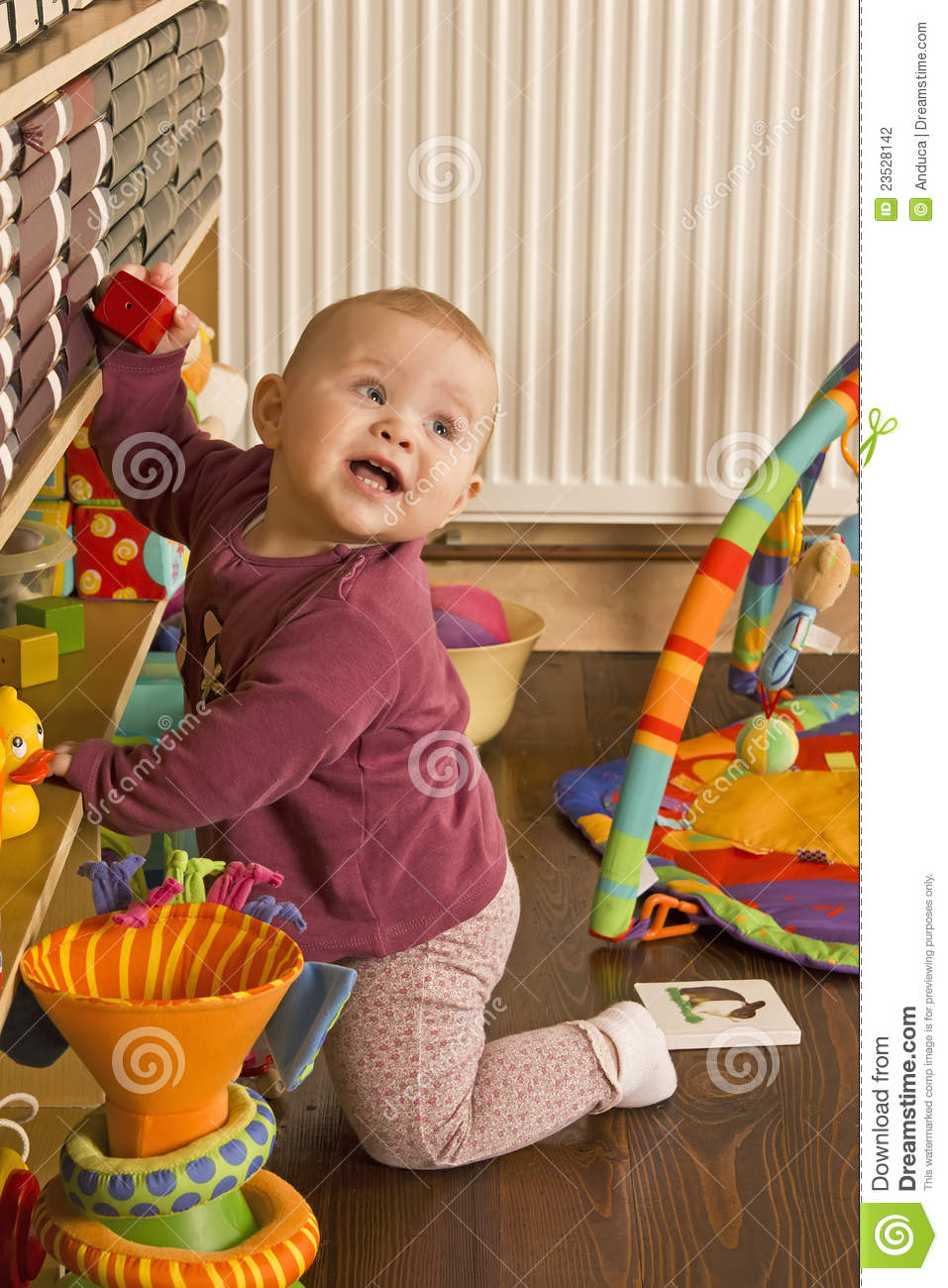Baby Playing On The Floor Stock Photography Image 23528142