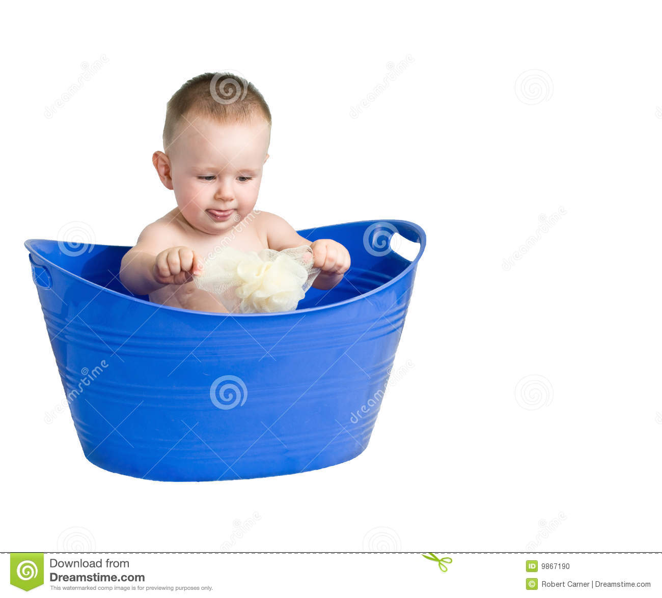 baby playing in a plastic tub stock photo image 9867190. Black Bedroom Furniture Sets. Home Design Ideas