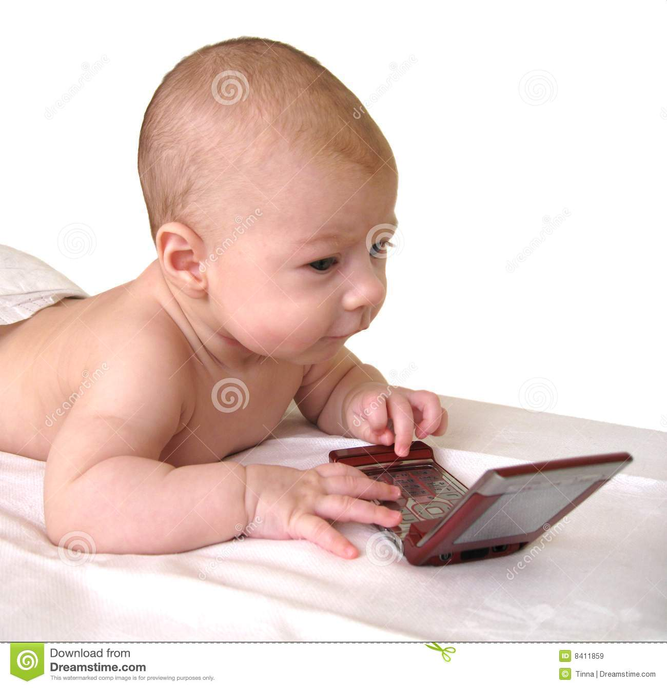 Baby playing with a smartphone