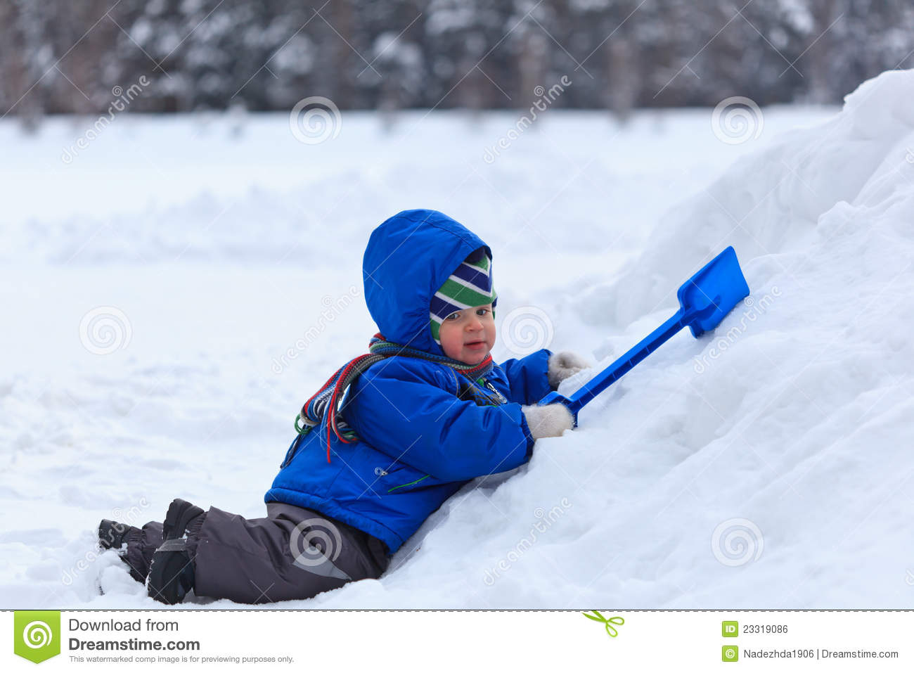 Baby Playing In Snow Stock Photo Image Of Leisure Cold