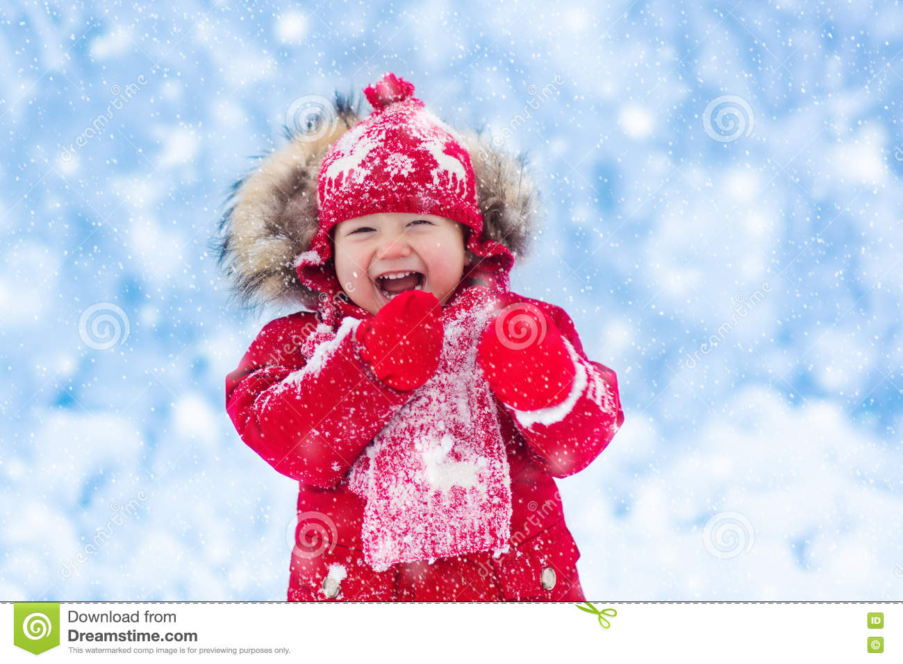 49cee210c Baby Playing With Snow In Winter. Stock Image - Image of nature ...