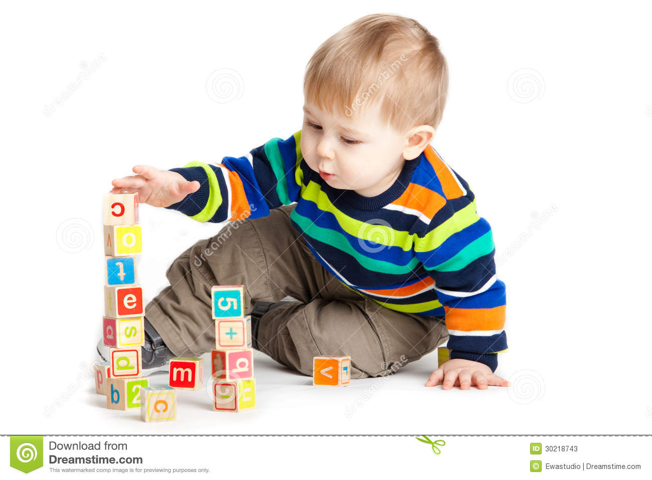 Baby Playing With Wooden Toy Cubes With Letters. Stock ...