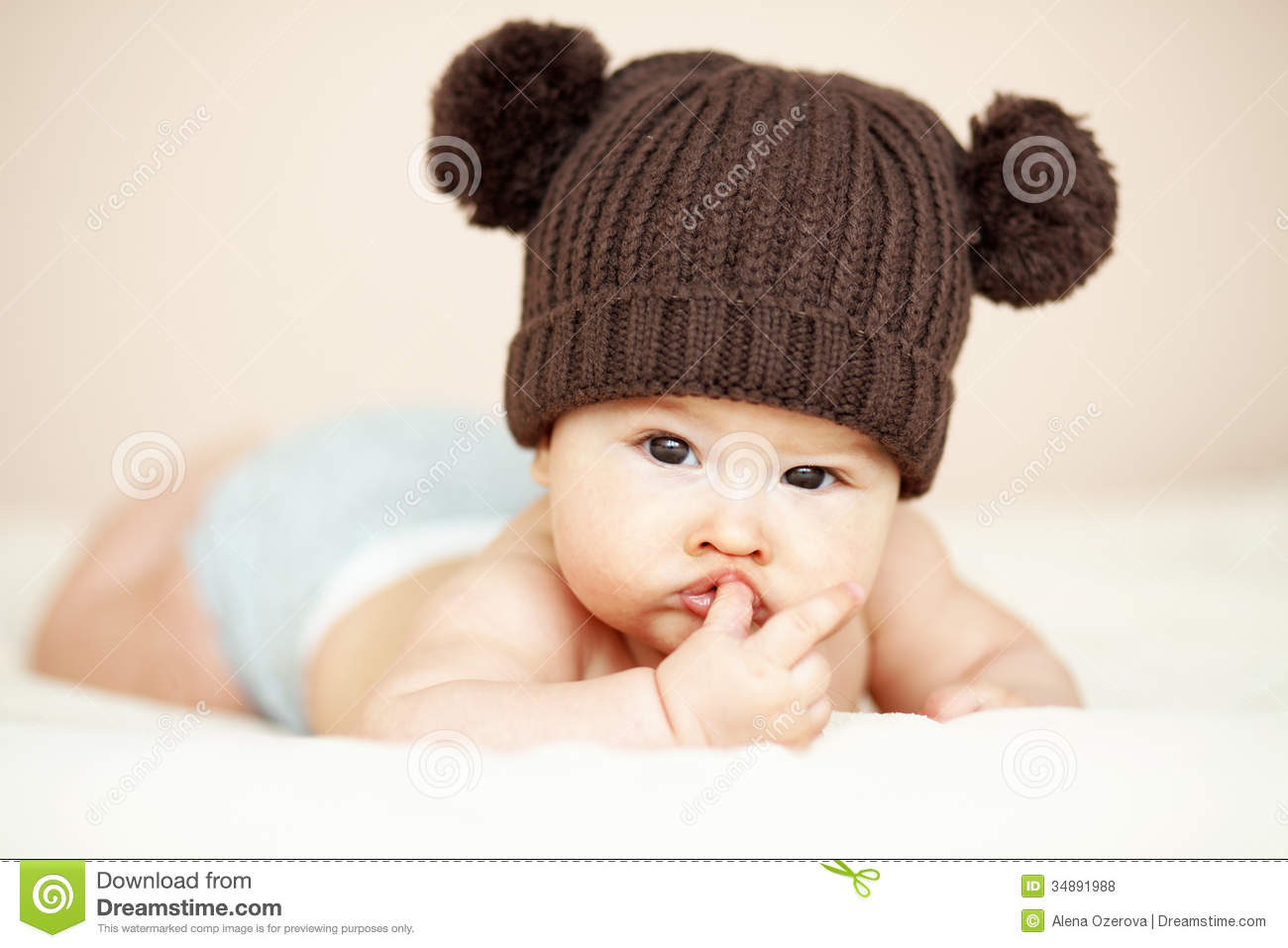 sweet baby girl with hat