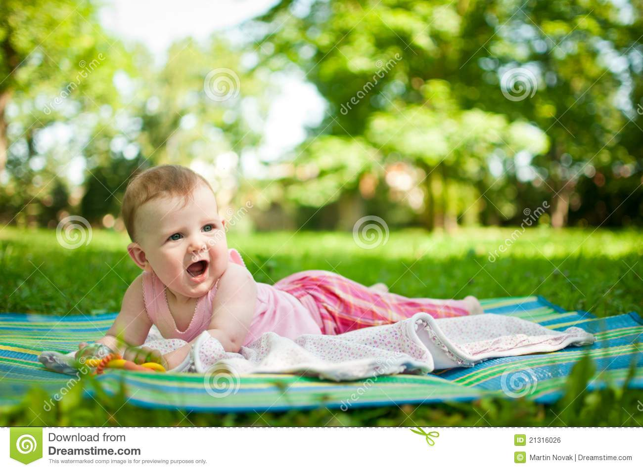 Baby Portrait Lying Outdoor Royalty Free Stock Image