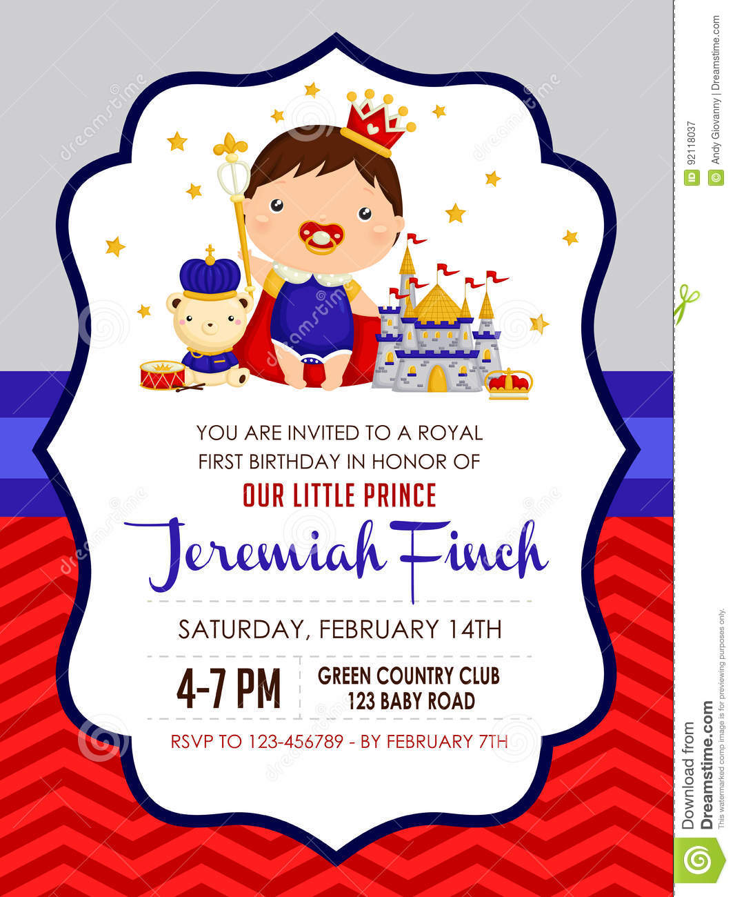 Baby Prince Birthday Invitation Stock Vector - Illustration of gold ...