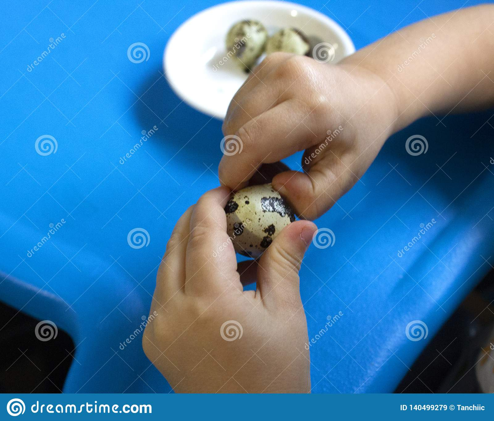 Baby and quail egg