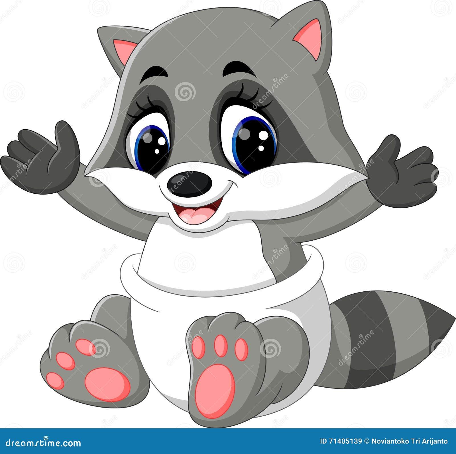 Baby Raccoon Cartoon Stock Vector - Image: 71405139 Raccoon Drawing