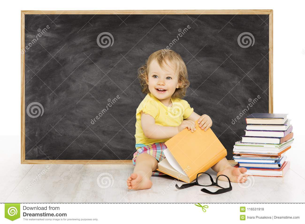 Baby Read Book near Blackboard, Kid School Black Board