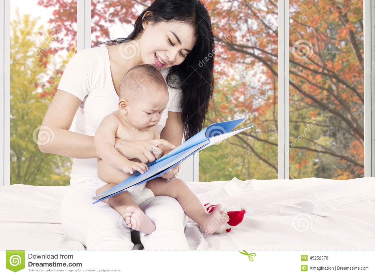 Baby Read Story Book With Mother Stock Photo Image Of