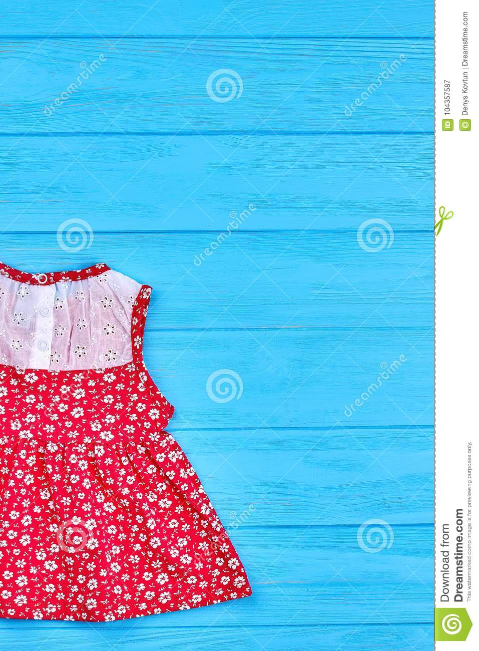 407c40156be Baby Red Dress With A Pattern Of Flowers. Stock Image - Image of ...